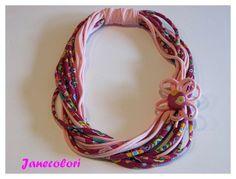 collana di stoffa, collier tessuto, con fiore color rosa e fucsia : Collane di janecolori-accessoires