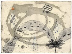 'Things the Footsteps Tell Me' (2006) by Japanese illustrator & printmaker Kumi Obata. etching, 300 × 400mm. via the artist's site