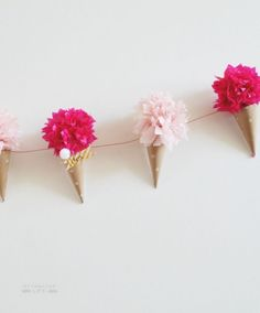 paper cone flower garland - perfect decoration for National Ice Cream Day Ice Cream Theme, Diy Ice Cream, Ice Cream Day, Ice Cream Decorations, Paper Decorations, Paper Flower Garlands, Paper Flowers, Gelato, Cone Template