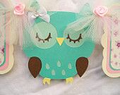 Sleeping owl banner, its a girl, baby shower banner - MADE TO ORDER