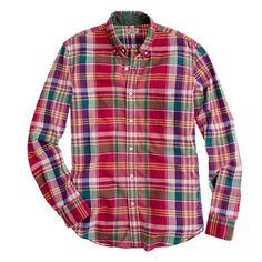 Indian cotton shirt in brick plaid - shirts - Men s new arrivals - J.Crew a39f58d013d