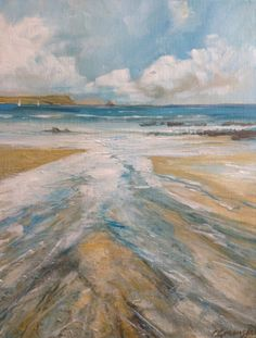 Down to the sea at Tatams, Portscatho An acrylic painting by cornish artist Cynthia  Greenslade