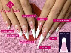 nail sculpture! some of these shapes, forms we can grow, others not. then either tips or nail sculpture, depending on the size of the pocketbook and/or personal preference.