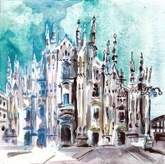 Piazza Del Duomo Milan Italy Watercolor and Ink by JenTheTracy