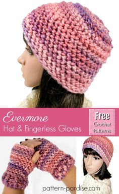 Free crochet pattern for hat and fingerless mittens by pattern-paradise.com #crochet #patternparadisecrochet #hat #fingerlessgloves #mittens #gloves #beanie