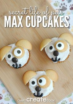 Life of Pets Max Cupcakes Your kids will love these Secret Life of Pet's Max inspired cupcakes!Your kids will love these Secret Life of Pet's Max inspired cupcakes! Puppy Cupcakes, Animal Cupcakes, Cupcake Cookies, Cupcake Crafts, Cupcake Recipes, Pet Max, Secret Life Of Pets, Puppy Party, Animal Birthday
