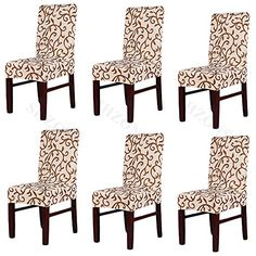 1//4//6Pcs Stretch Jacquard Removable Washable Dining Chair Covers Seat Slipcover