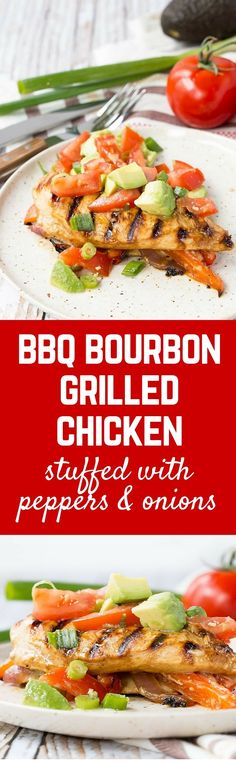 Summer at its best, this BBQ bourbon grilled chicken is marinated until flavorful and tender and then stuffed with peppers, onions and cheese. Get the easy summer recipe on RachelCooks.com! #sponsored @KC Masterpiece @Walmart