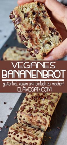 Vegan Chocolate Chip Banana Bread for breakfast or dessert! Best recipe which is vegan, gluten-free, oil-free, healthy and easy. Can be made grain-free! Easy Chocolate Chip Cookies, Chocolate Chip Banana Bread, Gluten Free Chocolate, Chocolate Recipes, Vegan Chocolate, Banana Cake Vegan, Dessert Sans Gluten, Easy Gluten Free Desserts, Easy Bread Recipes