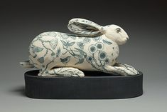 Georgina Warne Crouching Hare High fired earthenware x x x 50 x Animal Sculptures, Earthenware, Hare, Ceramic Art, Vintage Antiques, It Works, Artwork, Rabbits, Figurative