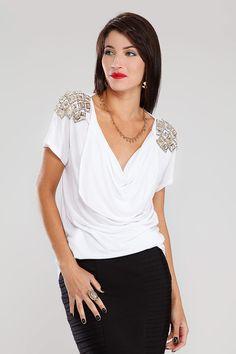 Blusa Aplicação Pedraria Branco Branco - Carlos Miele Jeans   Brandsclub.