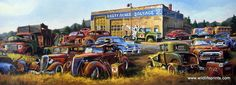 This salvage yard has acres of hot rods--but good for parts only. Dale Klee's print RUSTY ACRES features rustic cars, trucks, even school buses, plus old Texaco Oil advertising. Lots of memories in th