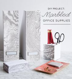 DIY Marbled Office Supplies - Design*Sponge