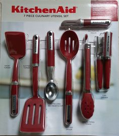 KitchenAid Cook's 7 Piece Culinary Utensil Set (Red) Set Includes: slotted turner, short turner, slotted spoon, nylon tipped tongs, all-purpose peeler, extra long ice cream scop, can opener. Heat resistant up to 450 F.