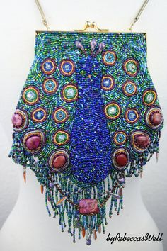 PROUD PEACOCK  Hand made bead embroidered purse by RebeccasWell, $145.00
