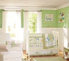 Love The Green Paint Color With Bright White Bead Board Would Want Floors