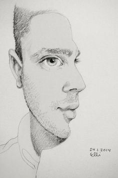 Side By Face by Elli // 24.1.2014 // #sketch #sketchaday #drawing #man #portrait #face #side #pencil