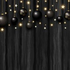 Christmas baubles and stars on wood texture 1311 Vector and PNG Black Background Wallpaper, Wood Texture Background, Cute Wallpaper Backgrounds, Wooden Background, Wallpapers, Gold Christmas Decorations, Christmas Baubles, Christmas Art, Beautiful Christmas