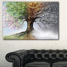 Tree with Four Seasons - Tree Painting Canvas Art Print | Overstock.com Shopping - The Best Deals on Canvas