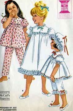 ©1961 Vintage McCalls 6123 Toddler Girls Baby Doll Pajamas, Nightgown, Night Cap and Pantaloons Sewing Pattern Sizes 4