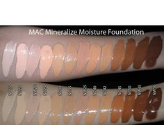 MAC Mineralize moisture foundation swatches