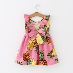 Baby Girls Dress Printed Fruit Dresses For Girl With Headband Robe Infant Princess Children Clothing Kids Vestido Child Costumes