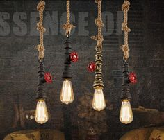 33.15$  Know more  - Industrial Vintage Personality Creative Iron Hemp Rope Pendant Light Restaurant Cafe Bar Decoration Lamp AC90-265V Free Shipping