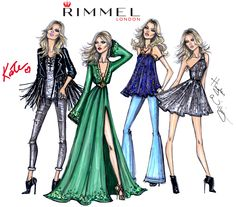 The 4 fashion looks by Hayden Williams & Kate Moss for Rimmel London 'Idol Eyes' collection - Which look is your fave? The Gig, Hippy Deluxe, Boho or Summer Rock?