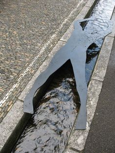 Modernist sculpture & water as an urban amenity Freiburg im Breisgau bächle -