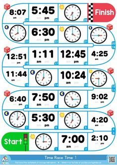 Telling The Time - ESL Board Game (Analog and Digital Clocks) - English ESL Worksheets for distance learning and physical classrooms Clock Worksheets, Worksheets For Kids, Printable Worksheets, Alphabet Worksheets, Preschool Printables, Alphabet Activities, Preschool Ideas, Free Printables, English Games
