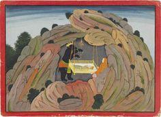 Jambavan Gives the Syamantaka Jewel to his Child to Play. An Illustration to the Bhagavata Purana - Indian Miniature Painting, Basohli-Guler style, Circa Mughal Paintings, Indian Paintings, Bhagavata Purana, India Art, Indian Artist, God Pictures, Victoria And Albert Museum, Art And Architecture, Miniatures