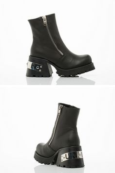 "SO CALLED BOOT BY UNIF ($195)  3"" heel, 1"" platform. Leather upper, leather lining and man made sole. Fits true to size. Women's size US 8 (EU 38) insole measures at about 24.5 cm. Each whole size is 1cm difference.  A UNIF original. Women's shoe. Imported."