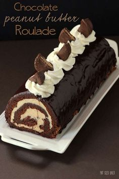 Chocolate and Peanut Butter Roulade made with homemade peanut butter and PB cups. For serious peanut butter lovers only!