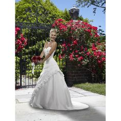 Satin Strapless Sweetheart Neckline with Rouched Bodice in A line Skirt Fashion Design Outdoor Garden Wedding Dress WF-0053
