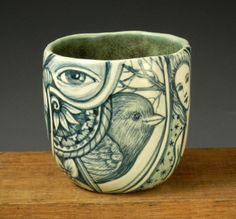Teal green and white OOAK porcelain story cup by PSPorcelain