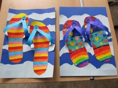 slippers for the summer - crafts, back to school - Schule Summer Crafts, Crafts For Kids, Arts And Crafts, Spring Art, Summer Art, Arte Elemental, Classe D'art, 3rd Grade Art, School Art Projects