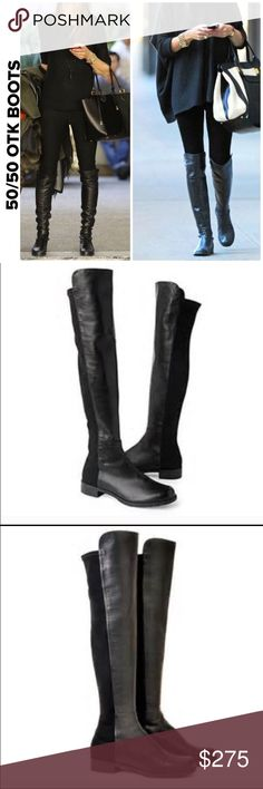 Stuart Weitzman 50//50 Over the knee Boots Well loved and taken good care of are my favorite over the knee boots by Stuart Weitzman . Super comfy and perfection for all your go to outfits for the season . Wear with leggings and skinny denim while making a fashion statement with signature style . Wear at   Toes and back gentle from normal wear and use. Stretch fabric in the back and leather in the front . No box . Fits size 9 or 9.5 . Stuart Weitzman Shoes Over the Knee Boots