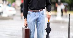 0.1% — vogueltalia: Street style @ Paris Fashion Week,... | Something | Pinterest | Men street styles, Denim pants and Bijoux