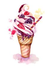 Watercolor icecream with berries vector art illustration