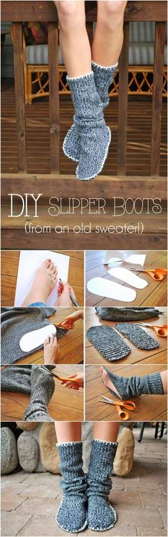 The best DIY projects & DIY ideas and tutorials: sewing, paper craft, DIY. Beauty Tip / DIY Face Masks 2017 / 2018 How to Upcycle Old Sweater into Slipper Boots More -Read Sewing Hacks, Sewing Crafts, Sewing Projects, Diy Projects, Sewing Ideas, Pullover Upcycling, Alter Pullover, Diy Vetement, Old Sweater