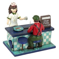 This charming collectible, foundry cast iron 1950's-style diner will become a favorite place to stop for vintage collectors and family alike. To pay for your dinner: slide the plate to the far left of the counter, place coin on the plate, pull the lever on the lower left side and watch the plate slide back along the counter, the customer raises his arms in surprise, and the coin disappears inside the cash register bank! Metal turn stopper at the bottom allows for coin retrieval. Our finel...