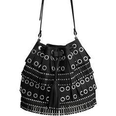 MANGO Studded Bucket Bag ($40) ❤ liked on Polyvore featuring bags, handbags, studded bucket bag, bucket bag, fringe bag, tassel purse and mango bags