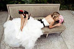 brides accessorizing with black vera wang wedding dress black sash 2