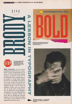 Neville Brody, A Lesson In Typography, The Face, April, 1988 Punk Magazine, The Face Magazine, Typography Layout, Lettering, Neville Brody, Typography Magazine, Typo Design, Graphic Design, Magazine Spreads