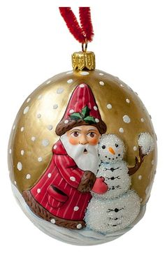 Vaillancourt 'Jingle Ball Santa with Snowman' Round Ornament available at…