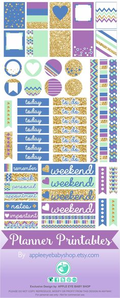 Free Printable Gold, Purple and Mint Planner Stickers from Apple Eye Baby Shop