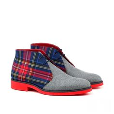 Handcrafted Custom Made Chukka Boots in Navy Box Calf Leather Grey Flannel and Tartan Sartorial From Robert August. Create your own custom designed chukka boots. Mens Shoes Boots, Mens Boots Fashion, Shoe Boots, Men's Shoes, Shoes Style, Flat Shoes, Men's Fashion, Shoes Sneakers, Formal Shoes