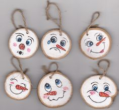 Hand painted miniature christmas tree ornaments silly snow man faces acrylic painting holiday decor by Dixonsartandcrafts on Etsy