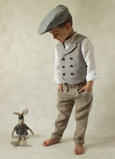 Ring bearer outfit Wedding party outfit Toddler boy vest and pants Boys linen suit Double breasted vest Photo prop