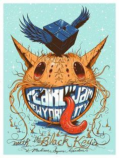 Gig poster by artist Jeff Soto for Pearl Jam with The Black Keys show in New York city at the MSG. Tour Posters, Band Posters, Music Posters, Retro Posters, Rock Indé, Pearl Jam Posters, Illustration Photo, Art Graphique, Concert Posters